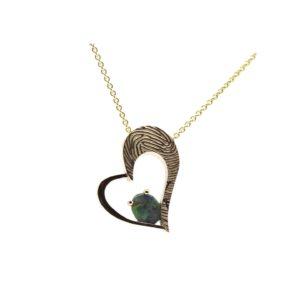 vingerafdruk sieraad hart hanger opaal